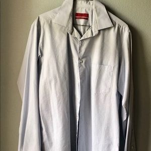 Alfani Fitted Stretch Fabric Button Down Shirt.